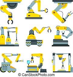 style, industriel, images, vecteur, mécanique, dessin animé, hands.