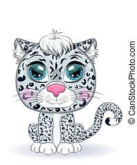 style., infantil, salvaje, eyes., animales, lindo, nieve, caricatura, carácter, leopardo, expresivo