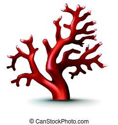 style, insignes, illustration, corail, réaliste, vecteur, autocollants, rouges