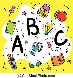 style, intelligent, griffonnage, beginnings., gosses, lettres, abc, vecteur, jaune, illustration., fond, école