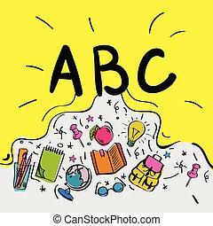 style, intelligent, griffonnage, gosses, lettres, abc, begginnings., vecteur, jaune, illustration., fond, école
