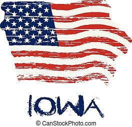 style, iowa, map., drapeau, américain, vecteur, grunge