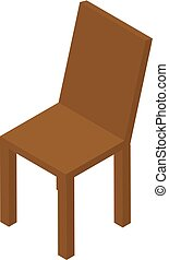 style, isométrique, bois, icône, chaise, cuisine