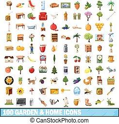 style, jardin, icônes, ensemble, maison, 100, dessin animé