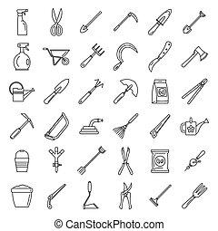 style, jardinage, contour, ferme, ensemble, outils, icône