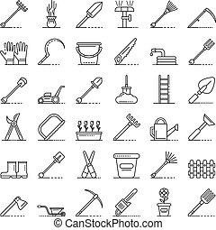 style, jardinage, contour, icônes, ensemble, outils
