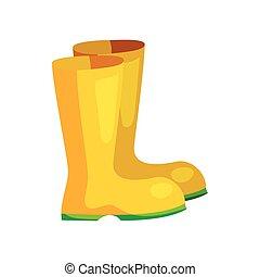 Bottes, jaune, dessin animé, pluie. Art, illustration