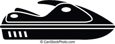 style, jet, simple, eau, icône, ski