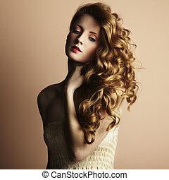 style, jeune, woman., vendange, beau, photo