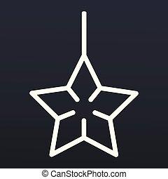 style, jouet, étoile, contour, arbre, icône, noël