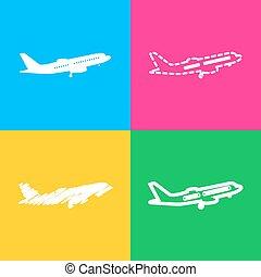 style, kolor, poznaczcie., przelotny, cztery, squares., samolot, prospekt., bok, ikona