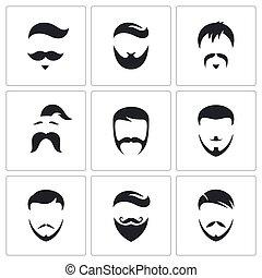 style, komplet, menu, włosy, retro, ikona