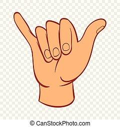 style, lâche, pendre, main, icône, dessin animé, geste