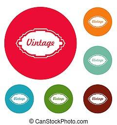 Style label icons circle set