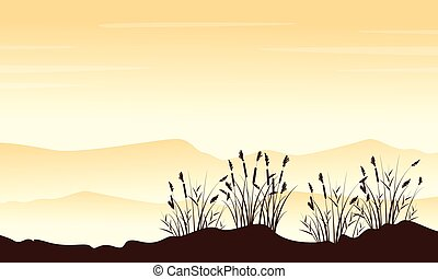 Style landscape mountain with grass silhouettes