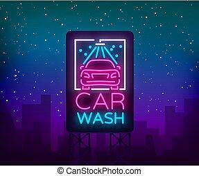 style, lavage, illustration., concept, voiture, signe néon, laver, thème, vecteur, conception, voitures, emblème, lumineux, logo, gabarit