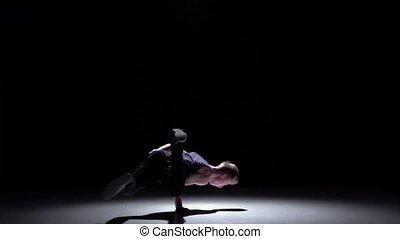 style, lent, breakdance, continuer, danse, mouvement, danseur, noir, blond, beau, ombre