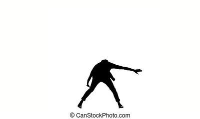 style, lent, silhouette, danse, danseur, mouvement, moderne, continuer, blanc, brake-dance