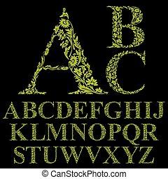 style, lettres, vendange, vecteur, police, floral, alphabet.