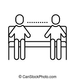 style, ligne, distance, social, humains, chaise, silhouettes, parc