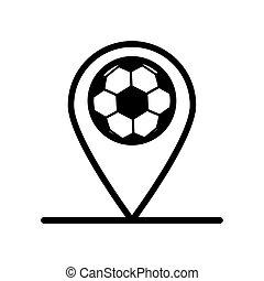 style, ligne, emplacement, balloon, épingle, icône, sport, football