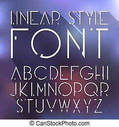 style, linéaire, cosmique, élevé, vecteur, font., technologie