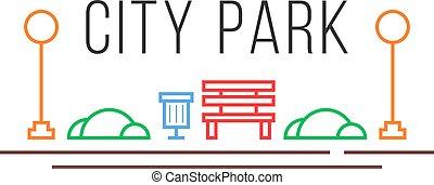 style, linéaire, parc, icône, ville