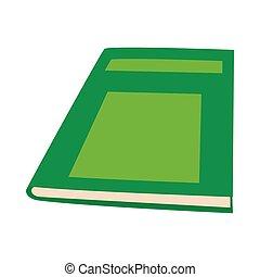 style, livre, vert, fermé, icône, dessin animé