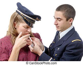 style, lumières, jeune, francais, cigarette, officier, girl, retro