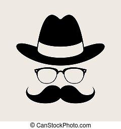 style, lunettes, mustaches., élément, hipster
