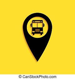 style., lungo, mappa, icona, puntatore, giallo, vettore, uggia, autobus, fondo., isolato, nero