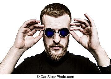 style, mâle, lunettes soleil