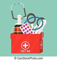 style, médicament, illustration., docteur, instruments, kit médical, vecteur, santé, traitement, aide, médicament, dessin animé, outils, hôpital