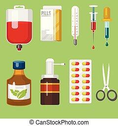 style, médicament, illustration., docteur, instruments, monde médical, dessin animé, vecteur, santé, traitement, médicament, outils, hôpital