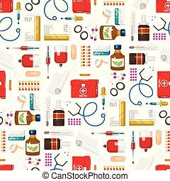 style, médicament, illustration., docteur, instruments, monde médical, seamless, dessin animé, vecteur, santé, traitement, modèle fond, médicament, outils, hôpital