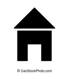 style, maison, façade, icône, silhouette