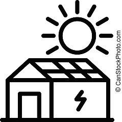 style, maison, solaire, icône, panneau, contour