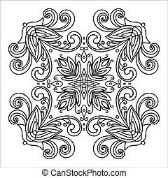 style, majolica, main, zentangle, mandala, dessin, element., italien