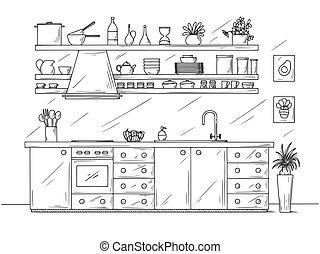 style., mano, bosquejo, ilustración, dibujado, kitchen.