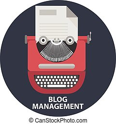 style, manuel, blog, machine écrire, papier, list., moderne, illustration, élégant, gestion, vecteur, conception, plat, vendange, concept
