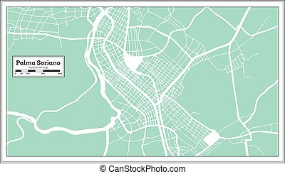 style., map., schets, retro, stad kaart, cuba, soriano, ...