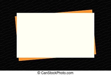 style, maquette, secteur, bannière, cadre, moderne, espace, papier, fond, noir, publicité, gabarit, orange, blanc, copie, présentation, annonce, vide