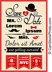style, mariage, hipster, carte, invitation