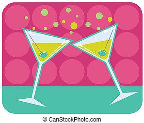 style, martinis, illustration., retro