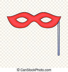 style, masque carnaval, icône, dessin animé, rouges
