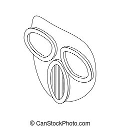 style, masque, isométrique, paintball, icône, 3d