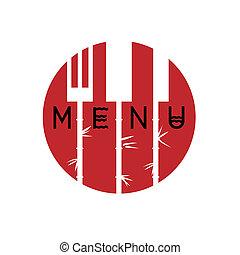 style, menu restaurant, -, variation, 3, conception, asiatique, élégant