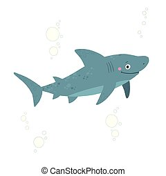 style., mer, plat, vecteur, requin, fond blanc, isolé, dessiné, illustration, eps, main, 10, animal, dessin animé, character.