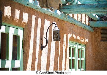style, mexicain, porche, loin, ouest, façade