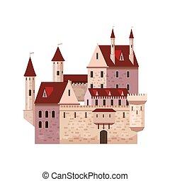style, milieu, moyen-âge, palais, forteresse, tours, isolé, illustration, âges, toits, élevé, ancien, bannières, vecteur, architecture, europe, conique, dessin animé, château